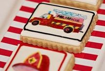 Boy's Fire Fighter Party / vintage | fire | truck | boy | birthday | party | ideas | cake | decorations | themes | supplies | favor | invitation | cupcakes  / by Spaceships and Laser Beams
