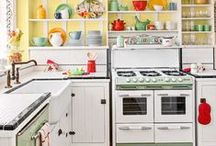 A Vintage Kitchen  / There's something special about cooking in a kitchen filled with vintage pieces. Reproductions are okay, but I prefer the well-worn and much loved originals. / by Nancy Kissiar
