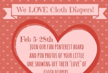 """Our fans LOVE cloth diapers! / For the month of February we want our Fans to join our collaborative board and share """"Love"""" themed cloth diaper photos.  One random pinner will win a $25 gift certificate to our store to spend on cloth diapers!  Please tag your photos with #clothdiaperlove  - To request an invitation to pin on this board: http://blog.diapershops.com/our-fans-love-cloth-diapers-pinterest-fan-board / by Diaper Shops"""