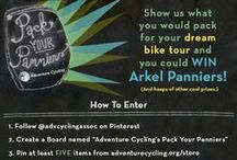 """Adventure Cycling's Pack Your Panniers / Show us what you would pack on your dream bike tour and you could win a set of Arkel Panniers!  To Enter:  • Follow @advcyclingassoc on Pinterest  • Create a Board named """"Adventure Cycling's Pack Your Panniers""""  • Pin at least FIVE items from www.adventurecycling.org/store  • Make our """"How To Enter"""" image the cover image  • Send your board to us via Pinterest OR email your board's url to pinterest@adventurecycling.org  Thank you so much for being a part of the Adventure Cycling community! / by Adventure Cycling Association"""