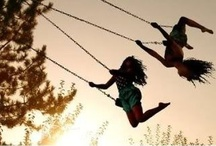 Swings / I've never grown out of my love for swings, they make me feel free & I love to lie back & look up into the trees & at the sky...there's something magical about it! / by Chris Clarke