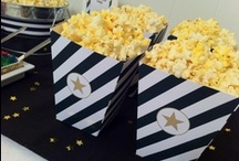 Popcorn Bar & Movie Night Ideas / Get ideas on a fun-filled movie night at home and find out how to easily create your own popcorn bar.  Get more details here: http://cupcakewishesandbirthdaydreams.blogspot.com/2013/02/party-recap-oscars-popcorn-bar-fit-for.html / by Cupcake Wishes & Birthday Dreams