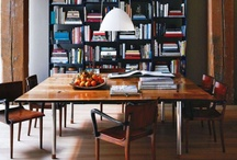 Dining Rooms / copper lightfixtures / oriental rugs / walnut / lots and lots of bookcases / by Abbey Nova