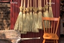 ~BrOOm CLosEt~ / I absolutely love baskets and brooms that are handmade. It's a craft that is very old and only a few talented people still make them.  / by ⭐Goldenwings⭐