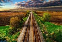 TRAIN TRACKS, etc.... / Let my steps stay on your tracks so that my feet may not stumble.  Psalms 17:5 / by Jan Gruber