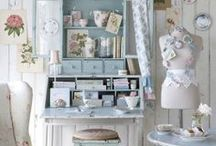 Creative Spaces / My crafting has got so out of hand that my tiny craft room is packed to the rafters and I have taken over the dining room table ( sound familiar ??? !!! ) In an ideal world here are some beautiful craft room ideas to aspire to ! / by Jane Goldman