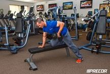 Workout Wednesday: Upper Body / These workouts — the seated pulldown, the seated incline press, the single arm dumbbell row, and the dumbbell overhead press — will help to strengthen your upper back, chest and shoulders. / by Precor