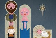 """Ilustraciones belenes navideños / En el portal de belén hay estrellas, sol y luna la Virgen y San José y el niño que está en la cuna (Fragmento villancico """"Pastores Venid"""") / by gogulo"""