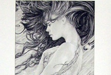mermaid illustrations and black & white paintings and prints / by Victoria M