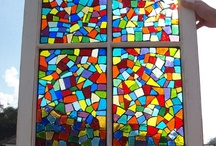 Mosaic Windows / Feeling inspired to create a mosaic?  Use PromoCode PIN5 to save 5% off all of your handcut, stained glass tiles at www.MosaicTileMania.com. / by Mosaic Tile Mania