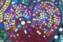 Mosaic Hearts / Feeling inspired to create a mosaic?  Use PromoCode PIN5 to save 5% off all of your handcut, stained glass tiles at www.MosaicTileMania.com. / by Mosaic Tile Mania