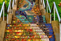 Mosaic Stair Risers / Feeling inspired to create a mosaic?  Use PromoCode PIN5 to save 5% off all of your handcut, stained glass tiles at www.MosaicTileMania.com. / by Mosaic Tile Mania