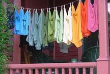 Wash Day - Hanging out to dry / Ah, the beauty of laundry drying in the sun, moving in the breeze and the smell of a freshly made bed with sun dried sheets! / by Kit White