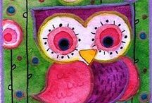 9 whimsical owls / sweet colourful whimsical owls (i don't add to the board after 300 pins. for more, please see Volumes 1 to 8 -- thanks for looking!)  / by Emy L