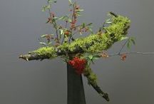 Ikebana / Ikebana has 3 elements represented by flowers, foliage or earthy pieces.  The elements are sky, earth and mankind and are brought together in a harmonious arrangement.  Some experts say that when looking down on an ikebana arrangement, the elements must form a harmonious angle.  / by Kitt Lviv