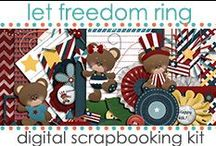 Kits: Let Freedom Ring / Let Freedom Ring is a patriotic kit with adorable bears and rich color palette. Available at Scrappy Bee (www.scrappybee.com) by JenWrightDesigns - www.jenwright.net / by Jen Wright