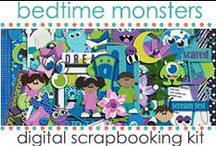 "Kit: Bedtime Monsters / Bedtime Monsters Digital Scrapbooking Kit.. great for bedtime routines, monsters inc fans, and more! **SECRET WORD** for Treasure Hunting Tuesday @ www.jenwright.net is ""BEDTIME FAIL"". / by Jen Wright"