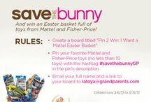 "CONTEST CLOSED: Pin 2 Win! Save the Chocolate Bunny & Win an Easter Basket Full of Mattel Toys! / Fill your grandkids' Easter baskets with something different this year -- Toys! Create a board titled ""Pin 2 Win: I Want a Mattel Easter Basket"" then pin your favorite Mattel and Fisher-Price toys using the hashtag #savethebunnyGP in the pin description. When you've filled your board with at least 10 toys, email a link to your board to latoya@grandparents.com. Contest runs 3/6/13 to 3/31/13.   Don't forget to download Mattel coupons: http://www.savechocolatebunnies.com/#coupons / by Grandparents.com"