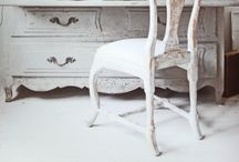 Furniture~Gustavian~Painted / Soft gray blueish pale colors painted on beautiful swedish style furniture / by Art by Wietzie