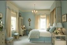 BLUE BED DECOR & BEDROOMS / by Kathy Warren
