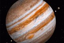 Planet 5-Jupiter / Jupiter is the fifth planet from the Sun and the largest planet in the Solar System. It is a gas giant with mass one-thousandth of that of the Sun but is two and a half times the mass of all the other planets in the Solar System combined. Mass: 1.898E27 kg (317.8 Earth mass). Radius: 43,441 miles (69,911 km). Surface area: 23.71 billion sq miles (61.42 billion km²). Gravity: 24.79 m/s². Orbits: Sun. Moons: 64. / by Susan M