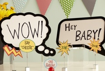 Comic Book / Throw a comic-themed baby shower with bright colors and sidekicks of bold black-and-white speech bubbles. POW! / by HUGGIES Baby Shower Planner