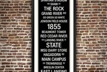 """College Town Wall Art / New! Our twist on vintage Subway Signs of the early 20th Century, Replay Photos' exclusive collection of College Town Wall Art blends a campus with its surroundings, landmarks and tradition while adding a unique design element to any room. The BIG custom framed piece measures 26"""" x 55"""" and is the perfect gift for alumni and fans.  http://www.replayphotos.com/rp-college-town-wall-art / by Replay Photos"""