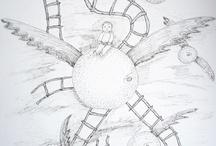dibujo/drawing / Uso mayormente la tinta y el papel en blanco y negro, mis dibujos son surrealistas / by mildia mattos