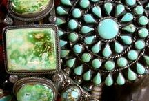 Turquoise - the Desert Jewel / turquoise |ˈtərˌk(w)oiz| noun 1 a semiprecious stone, typically opaque and of a greenish-blue or sky-blue color, consisting of a hydrated hydroxyl phosphate of copper and aluminum. / by Cheryl McMullen