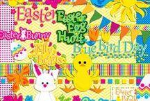 Easter / Pâques : freebies / lapins et poussins, œufs et cloches, textes (religieux ou non) : imprimables ou éléments pour créations digitales / hybrides, ces freebies trouveront leur place sur vos pages, cartes, décos de table, arbres de Pâques... et partout dans la maison ou le jardin !... / by Isabelle de Beukelaer
