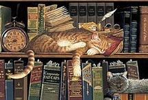 les livres et les chats... / sont sans nul doute deux choses indispensables à ma vie... d'autres sont importantes, bien sûr, mais depuis l'enfance, je me rends compte que je ne peux pas être totalement heureuse si les uns ou les autres me manquent... ni totalement malheureuse tant qu'ils sont là... / by Isabelle de Beukelaer