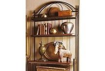Bakers Rack by Charleston Forge / Charleston Forge  Made in USA  Racks Clean and simple, tall and strong. Call them etageres, bookcases, wall units or bakers racks.  They give you height in a room and lots of space to show off your favorite collectibles. / by Charleston Forge