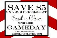 Featured in September  / Here is what is being featured in September.  Enter code GAMEDAY to save $5 until 9/30. / by CarolinaClover.Com