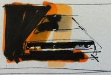 Things I drew  / Mostly Concept Cars - Small sketches using pencil -  Artline 200 -  Copic Marker - FW white ink on A5 - Stylus on iPhone / by Graeme MacDonald