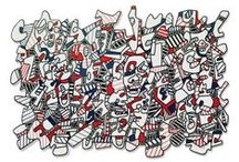 Jean Dubuffet / Jean Dubuffet (1901-1985) began painting at the age of seventeen and studied briefly at the Académie Julian, Paris, but it was not until 1942 that he began the work which has distinguished him as an outstanding innovator in postwar European painting. Dubuffet's interest in art brut, the art of the insane, and that of the untrained person, whether a caveman or the originator of contemporary graffiti, led him to emulate this directly expressive and untutored style in his own work.  / by Pace Gallery