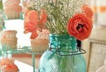 turquoise & coral / by Tammi Johnson Legassey