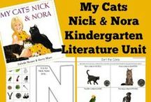 "Kindergarten Literature Unit Ideas ~ My Cats Nick and Nora / Printables, Crafts, and ideas for Kindergartners all centered around the book, ""My Cats Nick and Nora."" You'll find ideas centered around the ""cat"" theme as well as other things mentioned in the story. / by {1plus1plus1} Carisa"