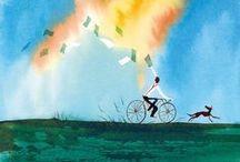 Culodritto e altre canzoni / Una canzone, Culodritto, Il vecchio e il bambino, Auschwitz, Piccola città, E un giorno..., L'ultima volta: dalla ricca produzione di Francesco Guccini sette canzoni, sette poesie sul tema dell'infanzia, del ricordo e del sogno, splendidamente illustrate da Alessandro Sanna. Cliccando su ogni immagine potete ascoltare la relativa canzone su Youtube! Buona visione e...buon ascolto! / by Libri Mondadori