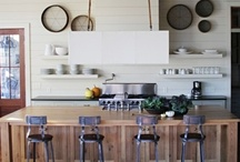 Kitchens-mixed colors or woods / white kitchens with wood, white kitchens with color, wood kitchens with color or other mixed kitchens / by Julie Williams