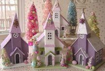 Glitter Houses and Bottlebrush Trees / Glitter Houses / Putz Houses / Bottlebrush Trees / by Leonardo Da Poochie
