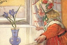 ♥Carl Larsson's Artistry / I've adored Carl Larsson's wonderful paintings for years. He was a renowned Swedish painter (1853-1919), best known for his charming watercolors, mostly depicting his family: wife Karin, their 8 children & their life at Lilla Hyttnäs, a small house in Sundborn. Karin designed textiles, furniture & children's clothing and created the home decor that he depicted. Together they created the motifs that have come to characterize the picture of Sweden cherished the world over. / by Glenda Roslund