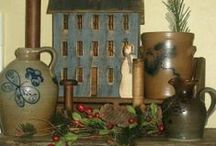 Crocks~Jugs~Stoneware & Other Treasures / I LOVE STONEWARE & OLD WOODEN THINGS - MY COLLECTION IS GROWING! / by Glenda Roslund