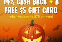 Halloween Costumes / Earn up to 14% on all your Halloween Shopping.  Plus, receive a FREE $5 Gift Card when you spend $75 or more in select stores.  / by Swagbucks Official