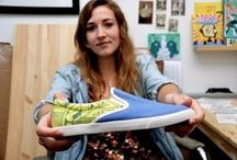 Bucketfeet / This Chicago based company uses their shoes as canvas to display artwork collected from all over the world! The artist gets exposure as well as a dollar for every pair of shoes they sell. In every box of Bucketfeet shoes, there is even a bio card to get to know your artist and where they came from! So cool! / by City Soles