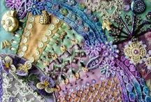 A TEXTILE BEAUTÉ!   / Exquisite quilting and cozy linens. Beautiful beadwork and embellishments. Crazy patches and soft, straight knits. Cotton chintz and ginghams; elegant brocade and silks. This is TEXTILES BEAUTÉ.  / by Tracy Dyer