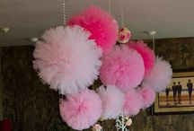 Party Decor - Tulle / Tulle hanging pom poms & garland, tulle table skirts & chair covers, tulle cake stands, tulle backdrops, tulle ceiling coverings... / by Ruth Bravo