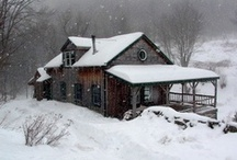 Rustic Decor / rustic, chalet, cabin style, lake house, retreat, flannel, woods, bears, wood, beams, trees, fireplace, stone, cozy, snow / by Jennifer Tippett Photography