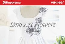 Line Art Flowers - Embroidery Collection 263 / HUSQVARNA VIKING® Embroidery Collection 263. Embrace summer with these lovely line art flowers! Beautify your summer dresses as well as your home decor with this wonderful collection that even includes one endless design. / by Husqvarna Viking® Sewing and Embroidery Machine