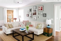 Dream House Living Spaces / Lots of architectural details, light wall colors, wood floors, burlap touches, and bright accent colors make me happy. / by City Wife, Country Life