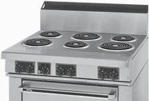 """Commercial Electric Range / I do not have gas so I am stuck with a limited selection of electric ranges. I really thought a commercial range was the answer, it is even less expensive. BUT many commercial ranges do not have the insulation residential ones have and most require a 7"""" - 10"""" clearance on either side for fire hazard. I have a super small space and can't spare to lose any cabinet storage. I am still hoping to stumble across a fire safe work around.... I will share anything I find. / by Laura Pole-Tree"""